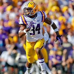 Oct 12, 2013; Baton Rouge, LA, USA; LSU Tigers safety Micah Eugene (34) against the Florida Gators during the first half of a game at Tiger Stadium. Mandatory Credit: Derick E. Hingle-USA TODAY Sports