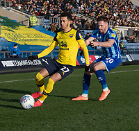 Oxford United's Nathan Holland under pressure from Blackpool's Oliver Turton (right) <br /> <br /> Photographer David Horton/CameraSport<br /> <br /> The EFL Sky Bet League One - Oxford United v Blackpool - Saturday 1st February 2020 - Kassam Stadium - Oxford<br /> <br /> World Copyright © 2020 CameraSport. All rights reserved. 43 Linden Ave. Countesthorpe. Leicester. England. LE8 5PG - Tel: +44 (0) 116 277 4147 - admin@camerasport.com - www.camerasport.com