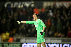 """Sheffield United's Simon Moore during the Sky Bet Championship match between Wolverhampton Wanderers and Sheffield United. PRESS ASSOCIATION Photo. Picture date: Saturday February 3, 2018. See PA story SOCCER Wolves. Photo credit should read: Chris Radburn/PA Wire. RESTRICTIONS: EDITORIAL USE ONLY No use with unauthorised audio, video, data, fixture lists, club/league logos or """"live"""" services. Online in-match use limited to 75 images, no video emulation. No use in betting, games or single club/league/player publications."""
