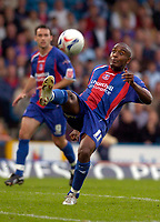 Photo: Alan Crowhurst.<br />Crystal Palace v Preston NE. Coca Cola Championship.<br />24/09/2005. Clinton Morrison tries to bring the ball under control for Palace.