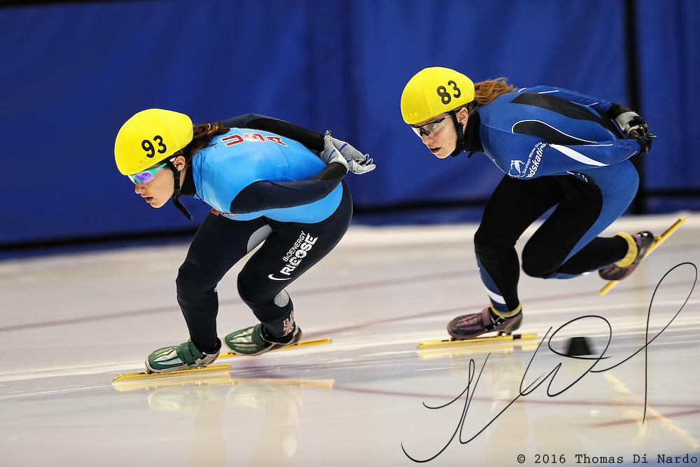 September 12, 2010 - Kearns, Utah - Katherine Reutter and Andrea Dehnke compete Desert Classic short track speedskating competition held at the Utah Olympic Oval.