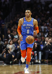 March 8, 2019 - Los Angeles, California, U.S - Oklahoma City Thunder's Russell Westbrook (0) dribbles during an NBA basketball game between Los Angeles Clippers and Oklahoma City Thunder Friday, March 8, 2019, in Los Angeles. (Credit Image: © Ringo Chiu/ZUMA Wire)