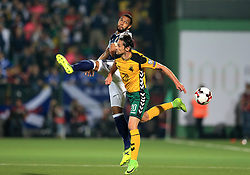 Scotland's Matt Phillips (left) and Lithuania's Valdemar Borovskij battle for the ball during the 2018 FIFA World Cup Qualifying, Group F match at the LFF Stadium, Vilnius.