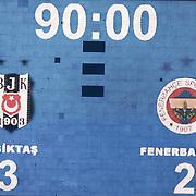 Scoreboard during their Turkish Super League soccer derby match Besiktas between Fenerbahce at the Ataturk Olimpiyat stadium in Istanbul Turkey on Sunday, 27 September 2015. Photo by Kurtulus YILMAZ/TURKPIX