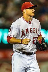 ANAHEIM, California/USA (Tuesday, September 26, 2012) -  Los Angeles Angels centerfielder Mike Trout #27 during the Mariners vs. Angels game held at the Angels  Stadium.   Byline and/or web usage link must read PHOTO © Eduardo E. Silva/SILVEX.PHOTOSHELTER.COM.
