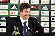 Tottenham manager Mauricio Pochettino speaks to the media in the post match press conference. Barclays premier league match, Swansea city v Tottenham Hotspur at the Liberty Stadium in Swansea, South Wales on Sunday 4th October 2015.<br /> pic by  Andrew Orchard, Andrew Orchard sports photography.