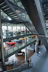 Interior of car museum at Autostadt or Car City in Wolfsburg in Germany