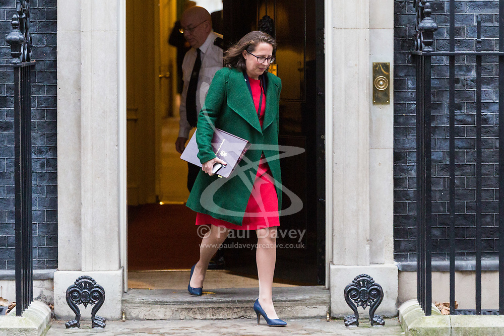 London - Leader of the House of Lords Baroness Evans leaves the weekly meeting of the UK cabinet at Downing Street. January 23 2018.