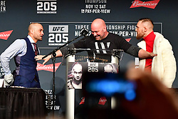Nov 10, 2016 - New York, New York, U.S. - Conor McGregor and Eddie Alvarez during press conference UFC 205  for the fans and media at the Madison Square Garden.  (Credit Image: ? Jason Silva/ZUMA Wire/ZUMAPRESS.com)