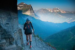 Alex hikes the Highline Trail, Glacier National Park, Montana, US