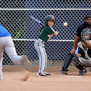 A young girl batter faces the pitching during the Norwalk Little League baseball competition at Broad River Fields,  Norwalk, Connecticut. USA. Photo Tim Clayton