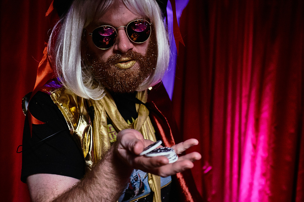 Henry Zebrowski as Gold Dust, photographed at Williams Street for Adult Swim's Celebrity Poker.