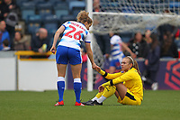 Football - 2018 / 2019 SSE Women's FA Cup - Semi Final: Reading FC Women vs. West Ham United Women<br /> <br /> Reading's Grace Moloney shakes hands with Reading's  Sophie Howard after her heroics in the penalty shoot out count for nothing as West Ham win the shoot out at Adams Park <br /> <br /> COLORSPORT/SHAUN BOGGUST