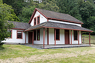 The Henry Ruckle Farmstead was built in the 1870's with the Kitchen (left) addition added in 1884.  Photographed from the Ruckle Farm in Ruckle Provincial Park on Salt Spring Island, British Columbia, Canada.