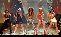 File photo dated 24/02/1997 of The Spice Girls performing on stage at the Brit Awards ceremony in London.