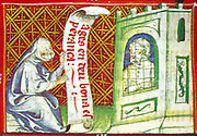 Scene from the 14th Century, illustrated manuscript the Breviari d'amor. It illustrates the seven Acts of Mercy. Here  is shown visiting a prisoner