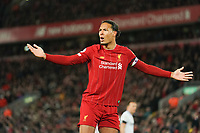 Football - 2019 / 2020 Premier League - Liverpool vs. West Ham United<br /> <br /> Liverpool's Virgil van Dijk (c) gestures to the linesman , at Anfield.<br /> <br /> COLORSPORT/TERRY DONNELLY