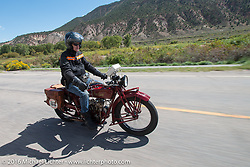 Hans Coertse riding his 1924 Indian Scout during Stage 10 (278 miles) of the Motorcycle Cannonball Cross-Country Endurance Run, which on this day ran from Golden to Grand Junction, CO., USA. Monday, September 15, 2014.  Photography ©2014 Michael Lichter.