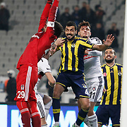 Besiktas's goalkeeper Tolga Zengin (L) Mustafa Pektemek (2ndR) and Fenerbahce's Bekir Irtegun (C) during their Turkish superleague soccer match Besiktas between Fenerbahce at Ataturk Olimpiyat Stadium in Istanbul Turkey on Sunday 02 November 2014. Photo by Aykut AKICI/TURKPIX