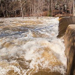 The Lamprey River at Wiswall Dam in Durham, New Hampshire.  Six feet above flood stage.  Flood of March, 2010.