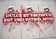 Ducle Et Decorum Est Pro Patria Mori artwork as part of peace campaign in Parliament Square, Westminster, London