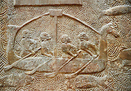 Stone relief sculptured panel of a boat. From the northern courtyard,  Inv AO 19890 from Dur Sharrukin the palace of Assyrian king Sargon II at Khorsabad, 713-706 BC.  Louvre Museum Room 4 , Paris .<br /> <br /> If you prefer to buy from our ALAMY PHOTO LIBRARY  Collection visit : https://www.alamy.com/portfolio/paul-williams-funkystock/ancient-assyria-antiquities.html  Refine search by adding background colour, place, subject, museum etc into the LOWER SEARCH WITHIN GALLERY box to <br /> <br /> Visit our ANCIENT WORLD PHOTO COLLECTIONS for more photos to download or buy as wall art prints https://funkystock.photoshelter.com/gallery-collection/Ancient-World-Art-Antiquities-Historic-Sites-Pictures-Images-of/C00006u26yqSkDOM