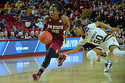 March 18, 2016; Tempe, Ariz;  New Mexico State Aggies guard Moriah Mack (35) gets past Arizona State Sun Devils guard Armani Hawkins (50) during a game between No. 2 Arizona State Sun Devils and No. 15 New Mexico State Aggies in the first round of the 2016 NCAA Division I Women's Basketball Championship in Tempe, Ariz. The Sun Devils defeated the Aggies 74-52.