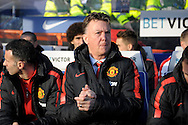 Manchester United Manager Louis van Gaal arriving at the dugout before k/o.Barclays Premier league match, Queens Park Rangers v Manchester Utd at Loftus Road in London on Saturday 17th Jan 2015. pic by John Patrick Fletcher, Andrew Orchard sports photography.
