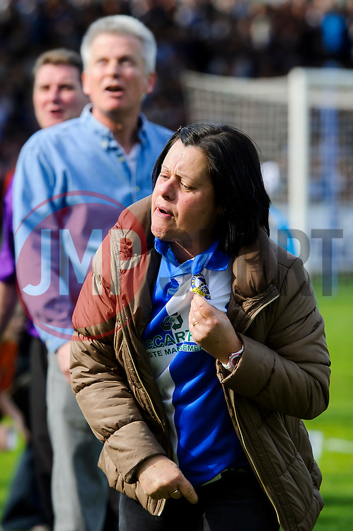 Bristol Rovers supporters react angrily after a 0-1 loss in the match to confirm their sides relegation from League 2 into the Conference division - Photo mandatory by-line: Rogan Thomson/JMP - 07966 386802 - 03/05/2014 - SPORT - FOOTBALL - Memorial Stadium, Bristol - Bristol Rovers v Mansfield Town - Sky Bet League Two. (Note: Mansfield are wearing a Rovers spare kit having forgotten their own).