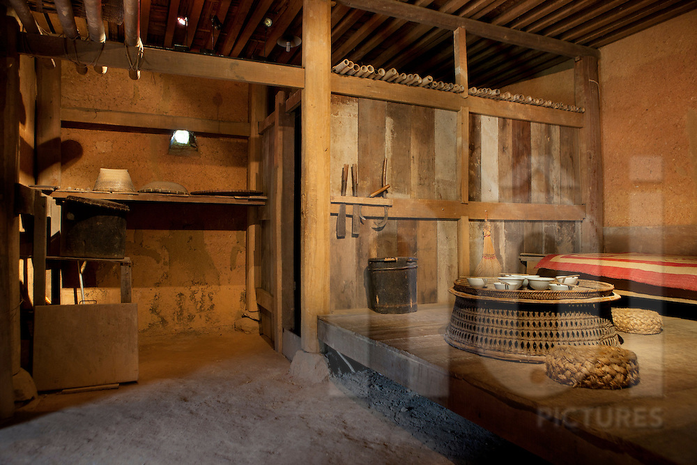 Interior of a traditional Hanhi (Ha Nhi) ethnic house. Ethnology museum, Hanoi, vietnam, Asia.
