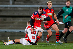 Bristol Rugby Full Back Luke Arscott is tackled by Ulster Ravens Full Back Jonny McPhillips - Mandatory byline: Rogan Thomson/JMP - 13/11/2015 - RUGBY UNION - Kingspan Stadium - Belfast, Northern Ireland - Ulster Ravens v Bristol Rugby - The British & Irish Cup Pool 2.