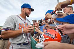 July 7, 2017 - Jupiter, Florida, U.S. - St. Lucie Mets Tim Tebow signs autographs at Roger Dean Stadium in Jupiter, Florida on July 7, 2017. (Credit Image: © Allen Eyestone/The Palm Beach Post via ZUMA Wire)