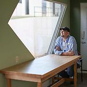 D.I. von Briesen inside his original EcoBox on the campus of CPCC near uptown Charlotte.