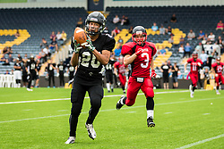 Kent Exiles catches a pass and runs in for a touchdown - Mandatory by-line: Jason Brown/JMP - 27/08/2016 - AMERICAN FOOTBALL - Sixways Stadium - Worcester, England - Kent Exiles v East Kilbride Pirates - BAFA Britbowl Finals Day