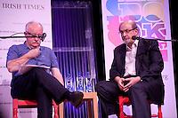 Professor Declan Kiberd and writer Salman Rushdie discuss The Global Novel at the Dalkey Book Festival, Dalkey Town Hall, Dalkey, Dublin, Ireland. Sunday 22nd June 2014.