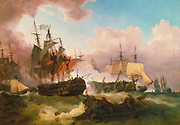 The Battle of Camperdown (known in Dutch as the Zeeslag bij Kamperduin) was a major naval action fought on 11 October 1797, between the British North Sea Fleet under Admiral Adam Duncan and a Batavian Navy (Dutch) fleet under Vice-Admiral Jan de Winter. The battle was the most significant action between British and Dutch forces during the French Revolutionary Wars and resulted in a complete victory for the British. by Philip James de Loutherbourg RA (31 October 1740 – 11 March 1812), AKA Philippe-Jacques or Philipp Jakob, was a French-born British painter who became known for his large naval works.