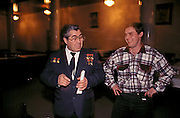 Ulyanovsk, Urals Region, central  Russia, 1994...A lookalike of former Soviet leader Leonid Brezhnev at a local restaurant. The birthplace of Vladiimr Lenin, founder of the Soviet Union, remains true to his Communist ideals. There is little private ownership, and all city industry and local agriculture is controlled by the state..
