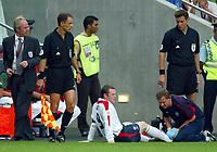 Photo: Scott Heavey, Digitalsport<br /> England v Portugal, Quarter Final, Luz Stadium, Lisbon. 24/06/2004.<br /> Wayne Rooney feels the pain