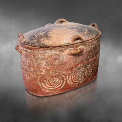 The Minoan clay burial larnax chest with swirl design,  Neopalatial period 1700-1450 BC; Heraklion Archaeological  Museum, grey background.