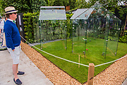 Transparent Greenhouses by Alladio Sims - The Chelsea Flower Show organised by the Royal Horticultural Society with M&G as its MAIN sponsor for the final year. London 23 May, 2017