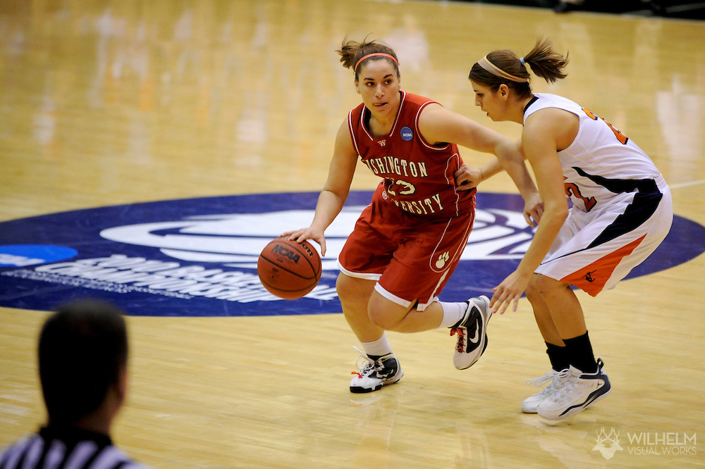 20 MAR 2010:  Bethany Morrison (23) of Washington University in St. Louis drives past Liz Ellis (22) of Hope College during the Division III Women's Basketball Championship held at the Shirk Center on the Illinois Wesleyan University campus in Bloomington, IL.  Washington defeated Hope 65-59 for the national title.  Brett Wilhelm/ NCAA Photos