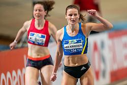 Lianne van Krieken in action on the 200 meter during AA Drink Dutch Athletics Championship Indoor on 21 February 2021 in Apeldoorn.