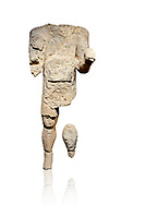 9th century BC Giants of Mont'e Prama  Nuragic stone statue of an archer, Mont'e Prama archaeological site, Cabras. Museo archeologico nazionale, Cagliari, Italy. (National Archaeological Museum) - White Background .<br />  <br /> If you prefer to buy from our ALAMY STOCK LIBRARY page at https://www.alamy.com/portfolio/paul-williams-funkystock/nuragic-artefacts.html - Type intoo the LOWER SEARCH WITHIN GALLERY box to refine search by adding background colour, etc<br /> <br /> Visit our NURAGIC PHOTO COLLECTIONS for more photos to download or buy as wall art prints https://funkystock.photoshelter.com/gallery-collection/Nuragic-Nuraghe-Towers-Nuragic-Artefacts-of-Sardinia-Pictures-Images/C0000M6ZtTuHVsSo