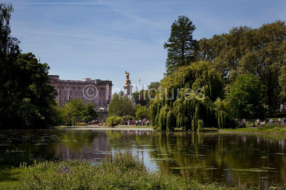 Looking across St James's Park Lake towards Buckingham Palace, London
