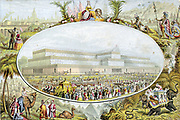 Crystal Palace, London, designed by Joseph Paxton: Queen Victoria arriving to open Great Exhibition, 1 May 1851. Emblems of British Empire surrounding corners. Le Blond print