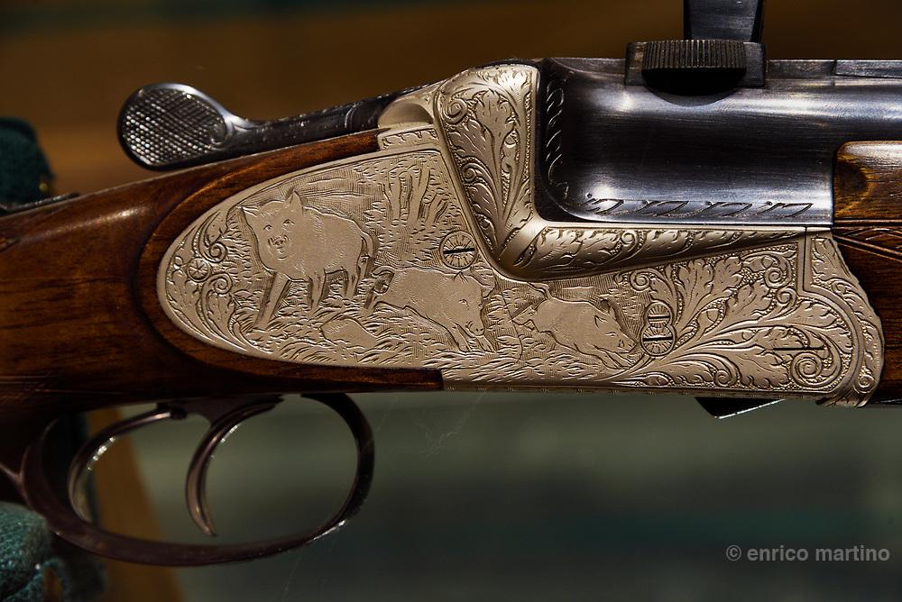 Ferlach, Jagd und Büchsenmachermuseum. Traditional handmade decorated rifles.