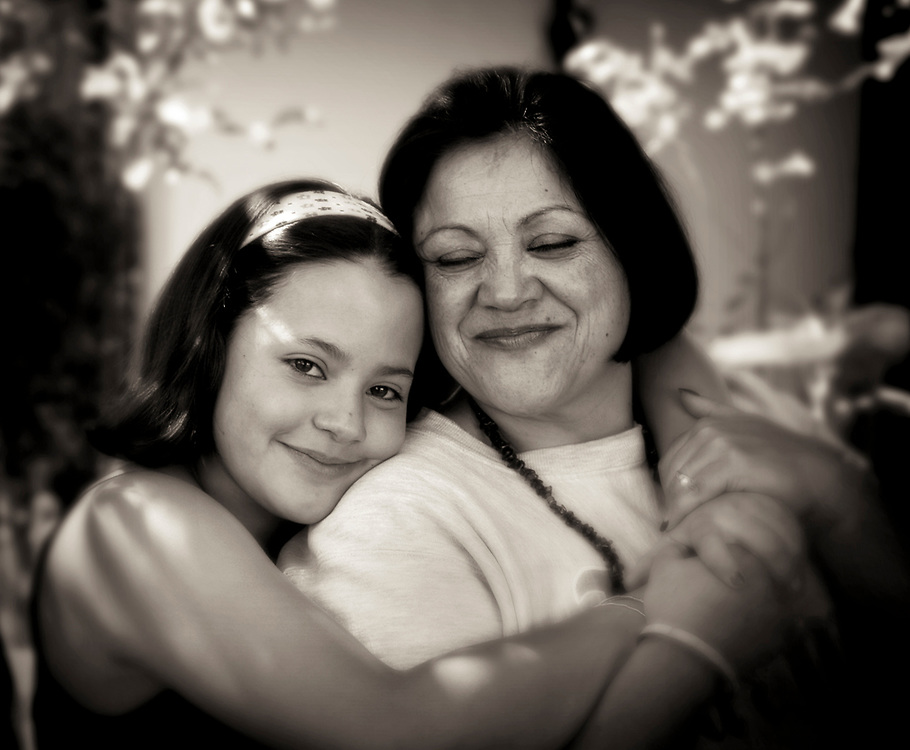 mother & daughter portrait in black & white