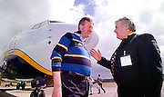 Denis Cregan of Kerry Airport, right, discussing the Airport levy with Michael Cawley, RyanAir, left.<br />Pic: Don MacMonagle, <br />story  Donal Hickey