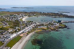 Aerial view of village of Port Ellen on Islay in Inner Hebrides, Scotland,UK