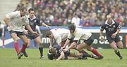 Saint-Denis, Paris, France, 23rd February 2003,  Six Nations Rugby International, France vs Scotland, Stade de France,<br /> [Mandatory Credit: Peter Spurrier/Intersport Images],<br /> Photo Peter Spurrier<br /> 23/02/2003<br /> Sport -SIX NATIONS RUGBY - France v Scotland<br /> left to right OlivierBrouzet  (FRA) Kenny Logan (SCO)<br /> Sylvain Marconnet (FRA) Stuart Grimes grounded with ball) (SCO)  Imanol Harinordoquy (FRA) and Gregor Townsend (SCO)